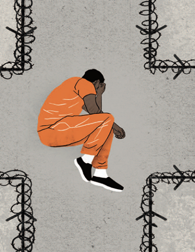 Human Rights Watch's Systemic Indifference Report featuring a man in a detention suit, within barbed wire shaped like a medical cross