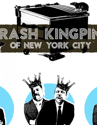"Image shows homepage of the ""Trash Kingpins of New York"" website with waste hauliers and a dumpster"