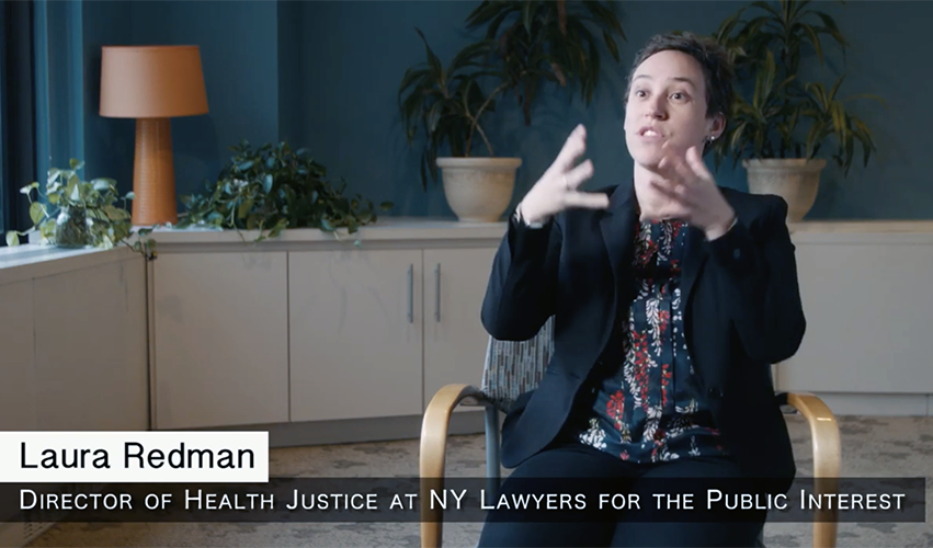 NYLPI Health Justice Director Laura Redman in the Health Foundation Film