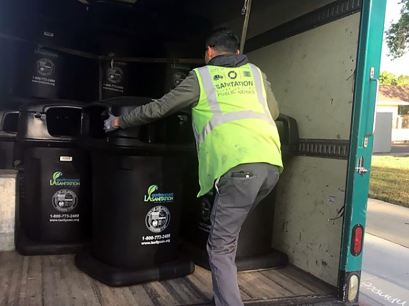 Recycling worker in Los Angeles