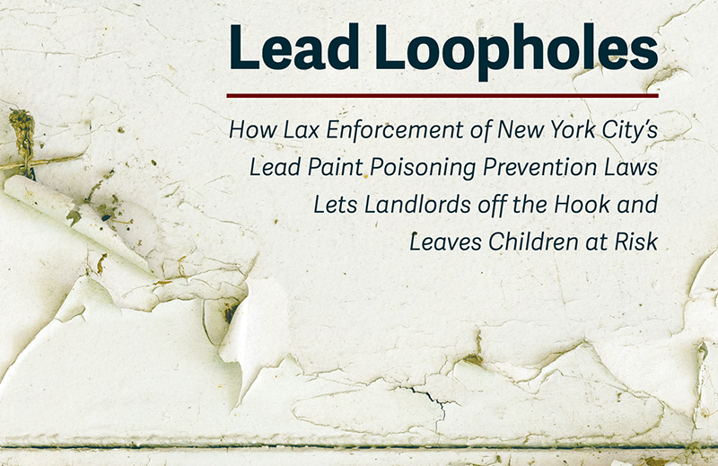 Cover of NYLPI's Lead Loopholes report shows peeling lead paint