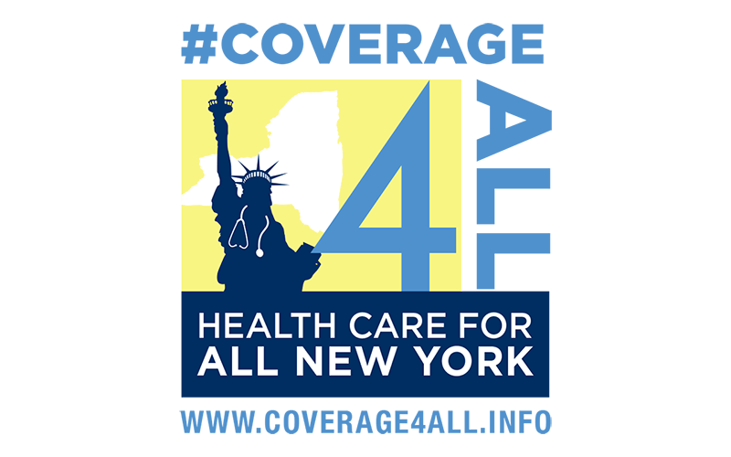 "An image shows the Statue of Liberty with a stethoscope around its neck, and the ""Coverage 4 all"" logo and web address"