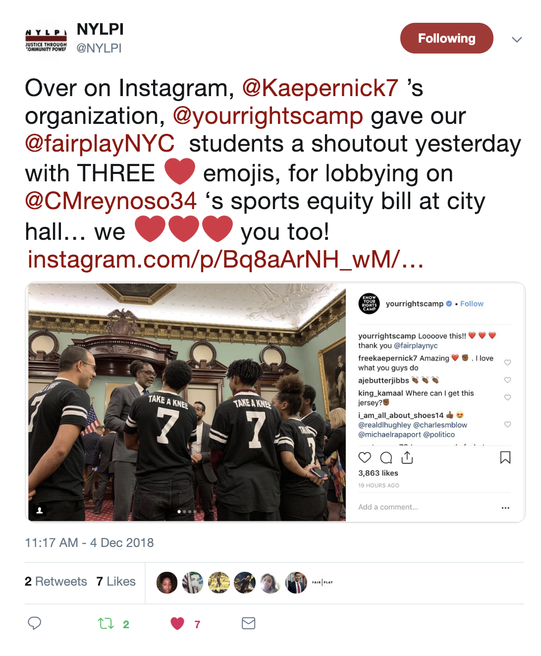 Image shows a tweet by NYLPI, thanking Colin Kaepernick's organization for giving our high school students a shoutout