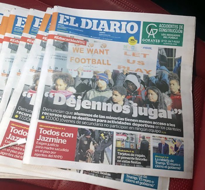 Students at sports equity lobby day on the cover of El Diario