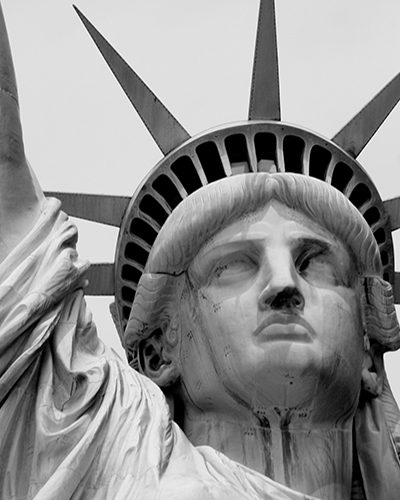 Photo shows the head of the Statue of Liberty