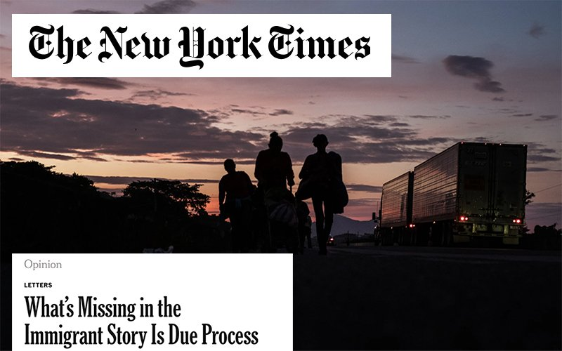 A photograph of three migrants walking down a highway, with the New York Times logo and op ed section heading
