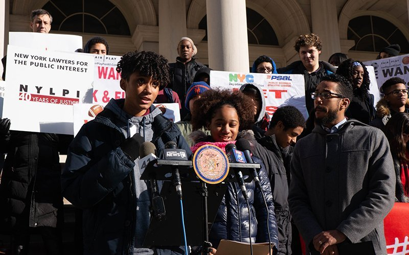 Image shows New York high school students and council member Antonio Reynoso lobbying for sports equity