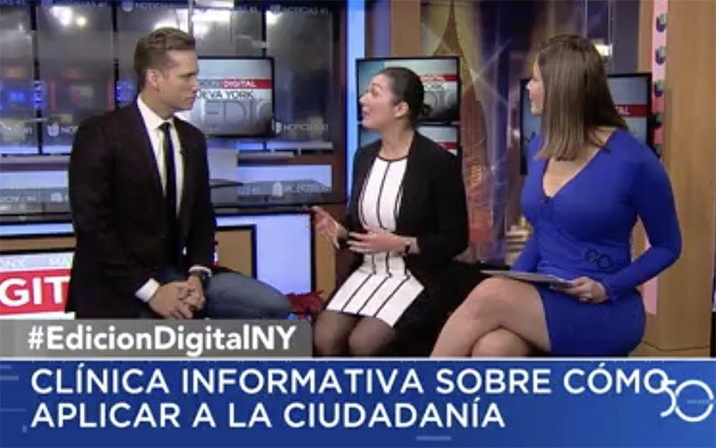 Screen grab shows NYLPI staffer Anna talking with Univision hosts