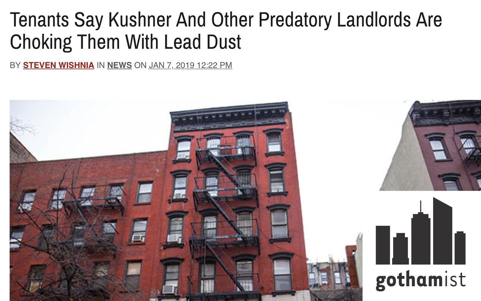 "Image shows Gothamist story on lead and ""predatory landlords"""
