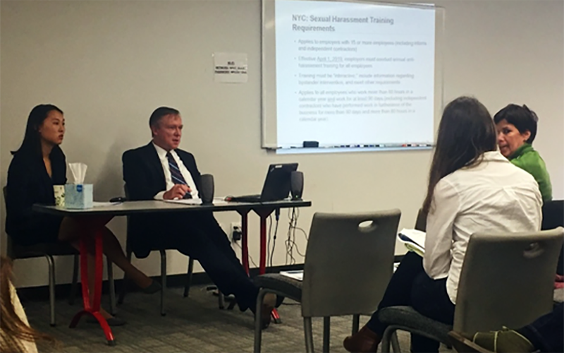 Meika N. Freeman, left, Associate, and Joseph C. O'Keefe, Partner, of Proskauer Rose LLP, led the workshop for nonprofit leaders