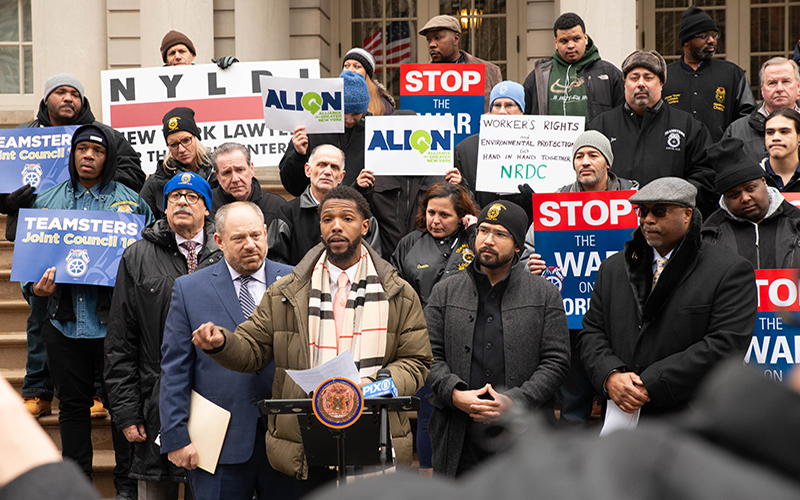 A former Sanitation Salvage worker talks about the horrible conditions at the company at a press conference at city hall on January 29