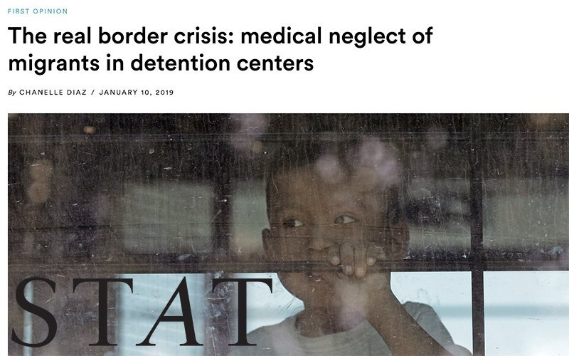 Image shows child in immigration detention center, accompanying op-ed in Stat by NYLPI-affiliated physician
