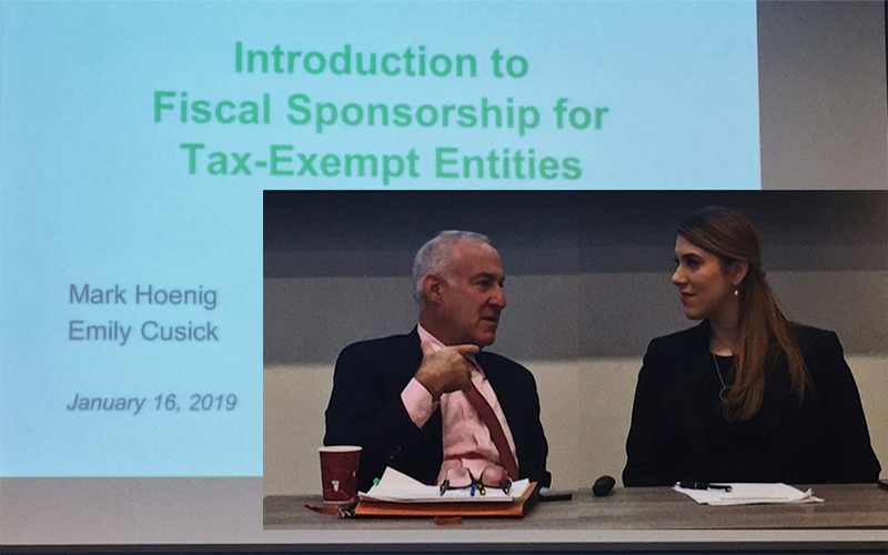 Attorneys Mark Hoenig and Emily Cusick from Weil, Gotshal & Manges LLP presenting at a recent capacity building workshop on fiscal sponsorship