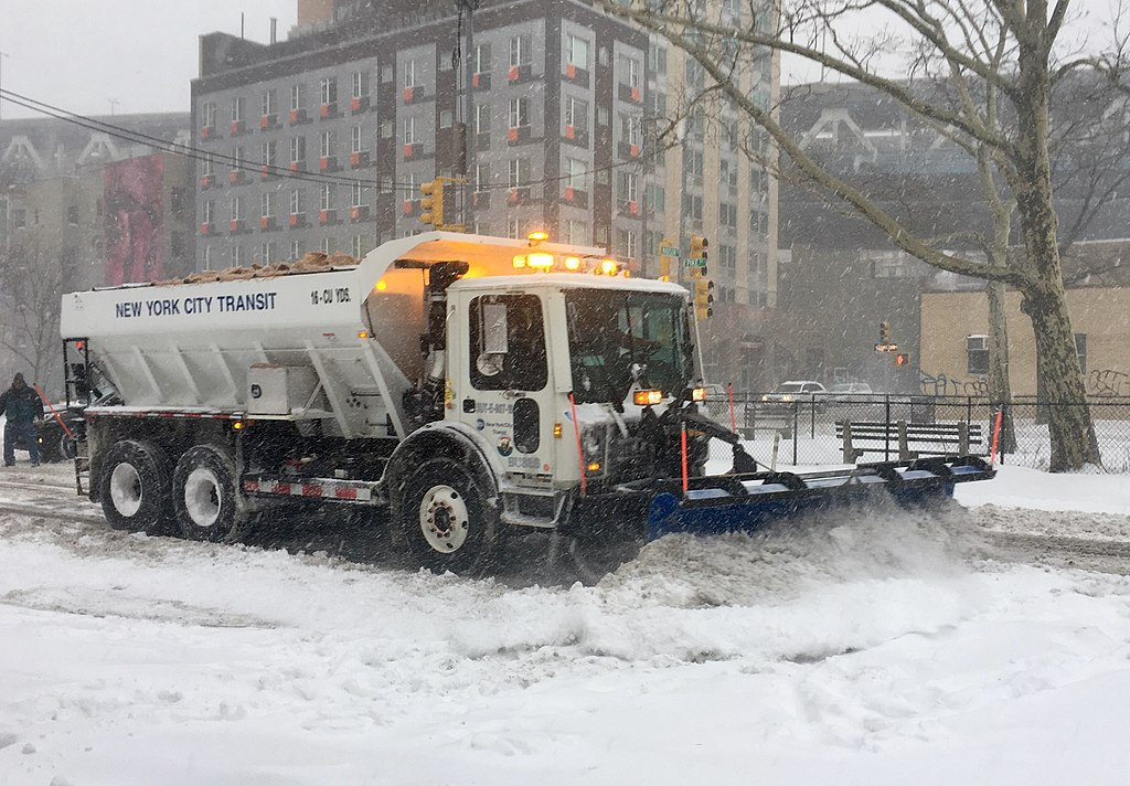 Snow plow at work