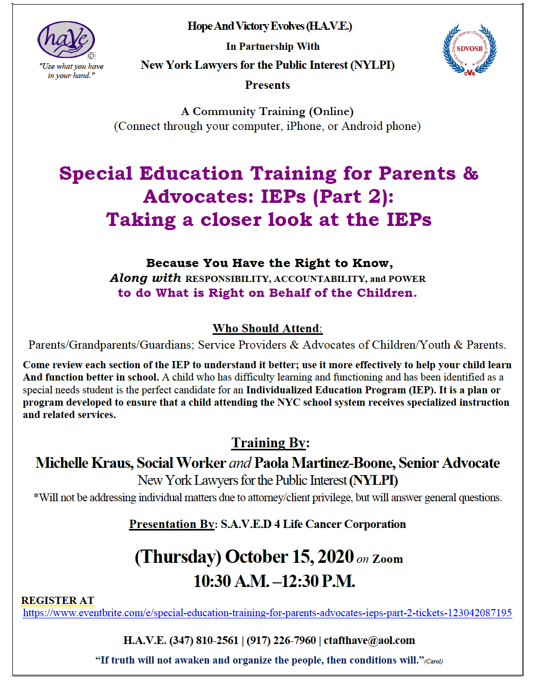 ''Special Education Training for Parents & Advocates: IEPs (Part 2): Taking a Closer Look at the IEPs