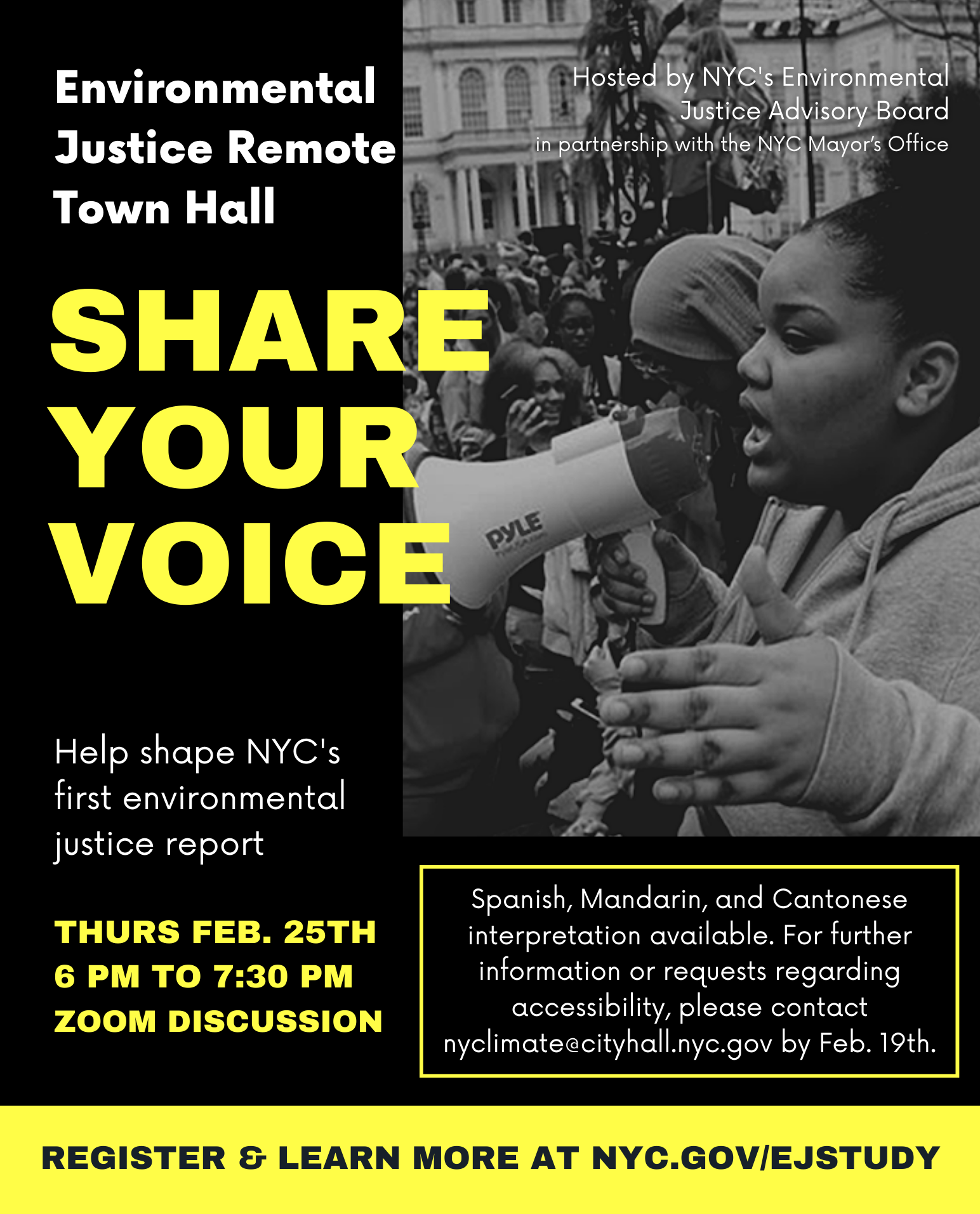 Flyer for Share Your Voice - New York City Environmental Justice Remote Town Hall
